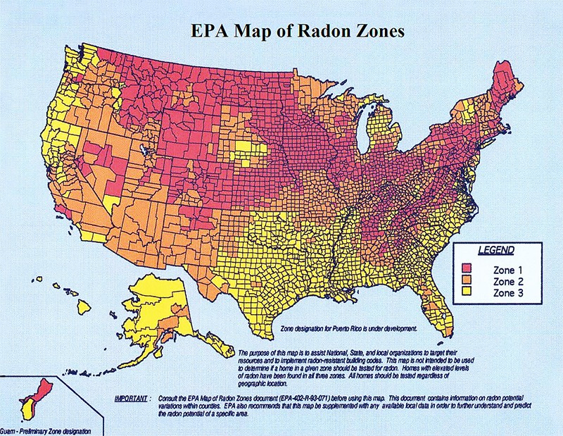 US Map of Radon Zones